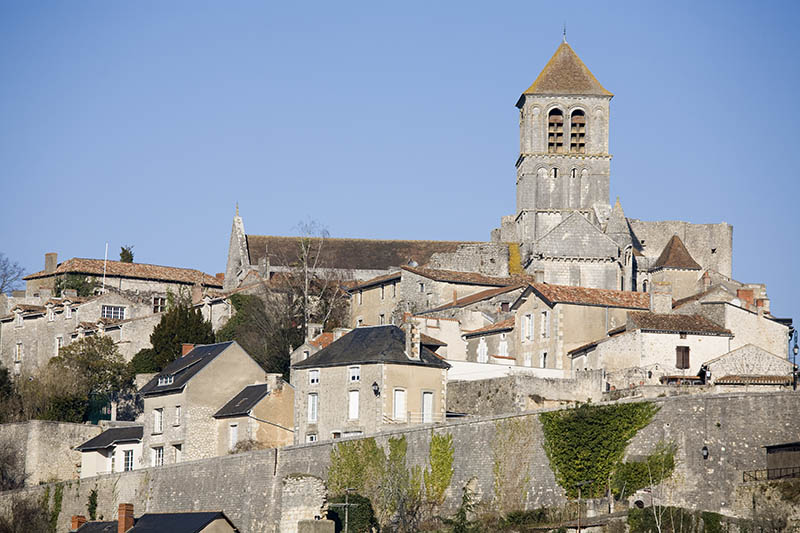 View of the old historic city of Chauvigny, France on a clear winter day.