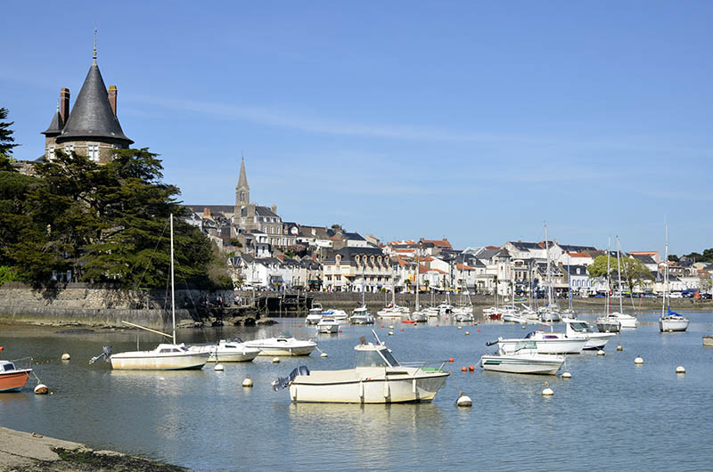 Port of Pornic at high tide in Pays de la Loire region in western France