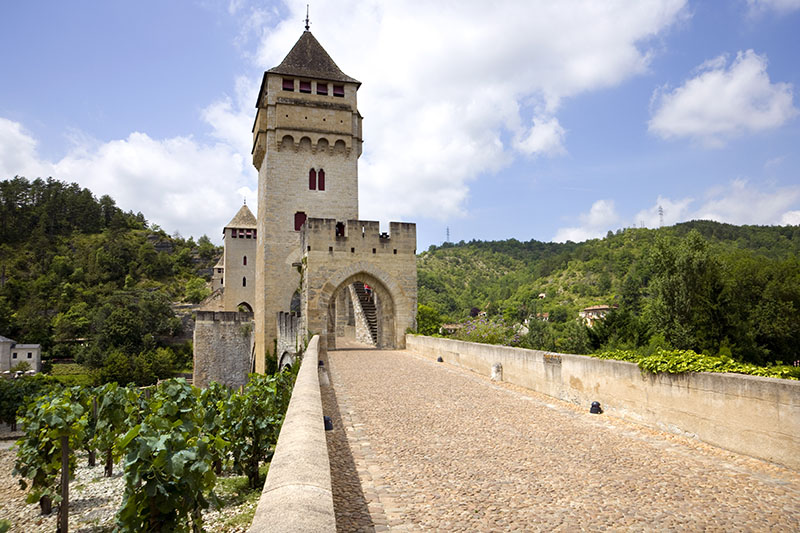 Europe, France, Midi Pyrenees, Lot, Lot River, the historic Pont Valentre fortified bridge in Cahors