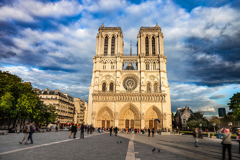 Notre Dame de Paris Cathedral during a sunny day.
