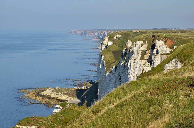 Aerial view of cliffs at F?camp, commune in the Seine-Maritime department in the Haute-Normandie region in northwestern France