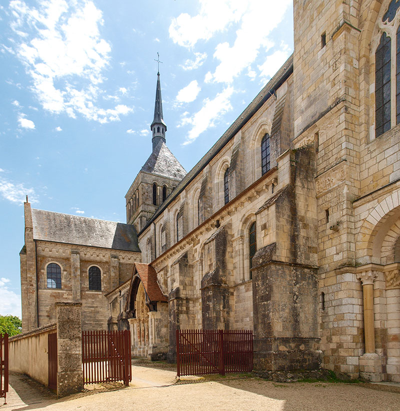 Saint-Benoit-sur-Loire, France - June 7, 2014: Fleury Abbey is a Benedictine abbey of Saint-Benoît-sur-Loire (department of Loiret in France), founded in 640.