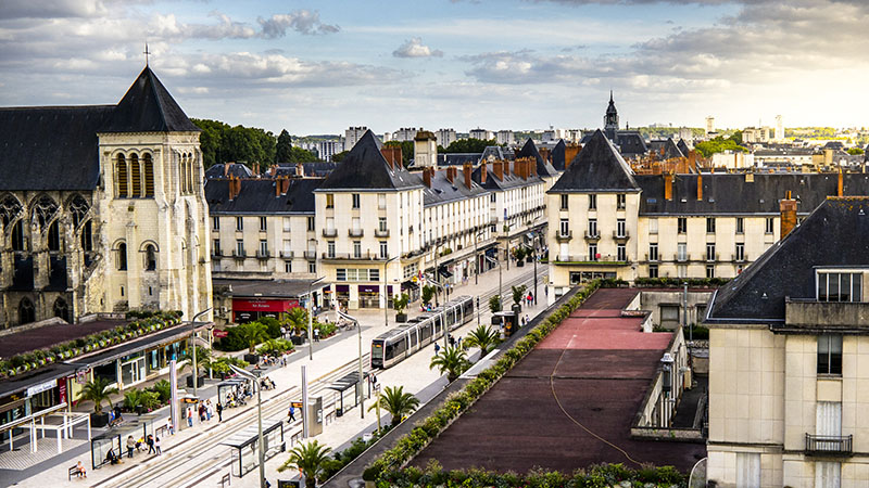 bid eye view of city of Tours, france