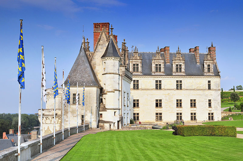 Chateau d`Amboise France. This royal castle is located in Amboise in the Loire Valley was built in the 15th century and is a tourist attraction, France.