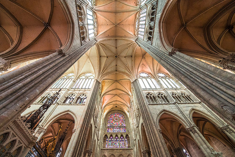 Amiens, france, august 07, 2014 : architectural details of  the gothic cathedral of Amiens, on august 07, 2014, in Amiens, France.