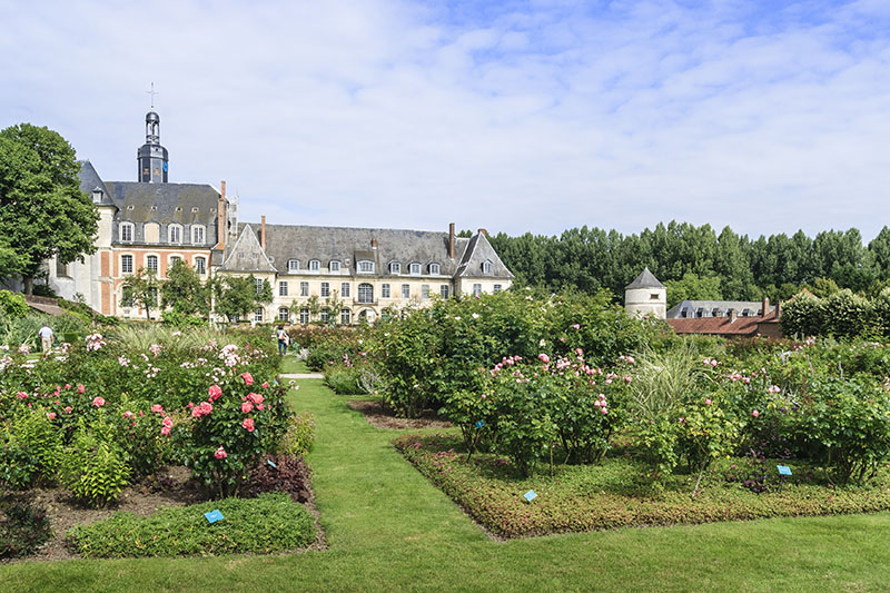 Argoules, Somme, Picardy, France - July 23, 2014 : the Valloires cistercian abbey and the rose garden during the rose blooming