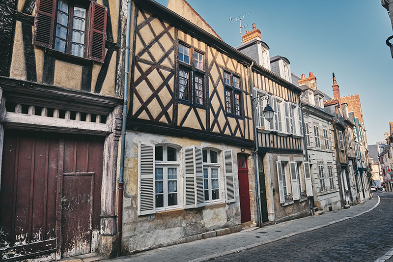 Looking north along Rue Bourbonnoux in the city of Bourges, Auvergne Region of France.